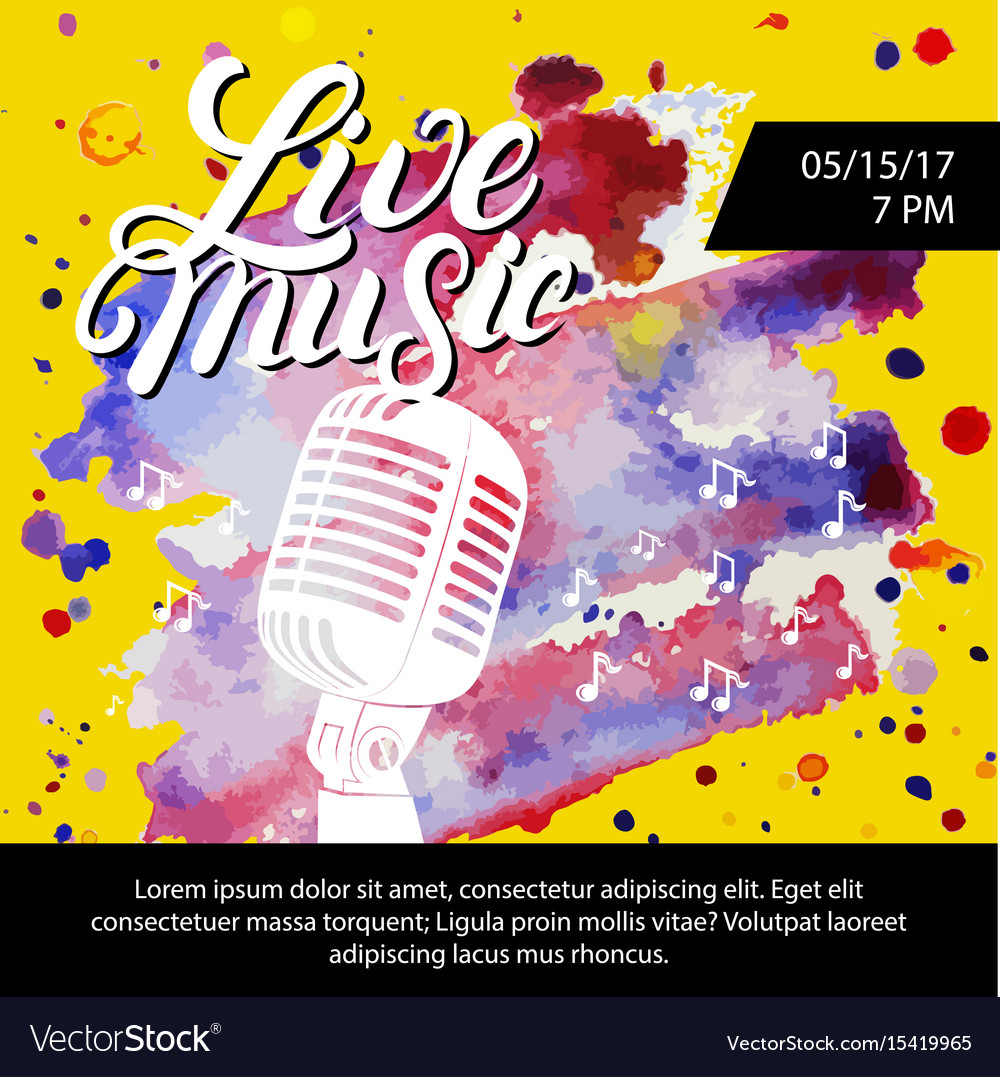 Live music poster with a microphone for concert