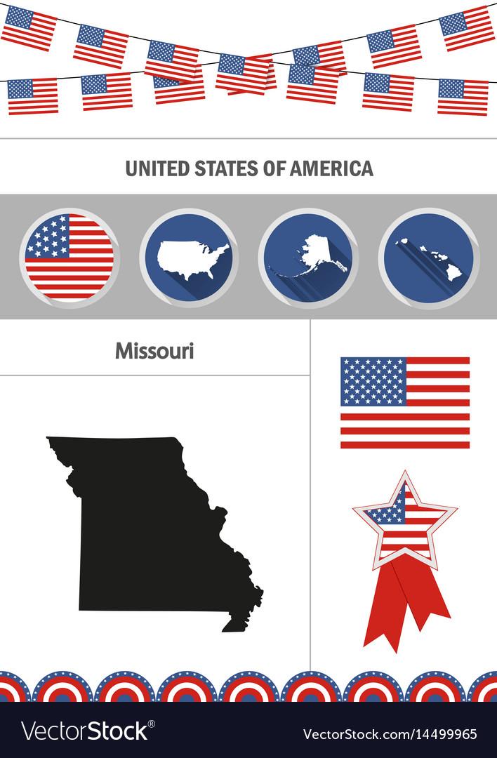 Map of missouri set of flat design icons vector image