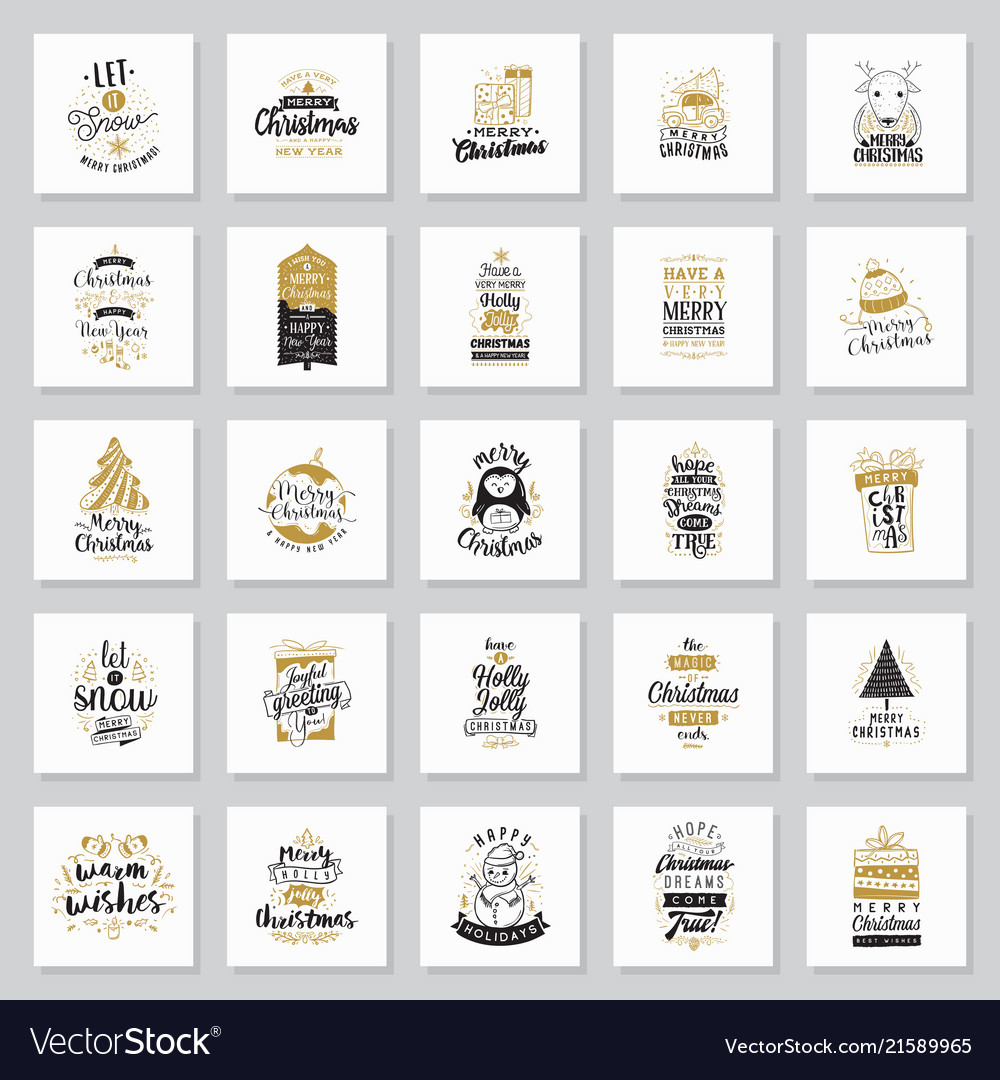 Merry christmas typography cards set