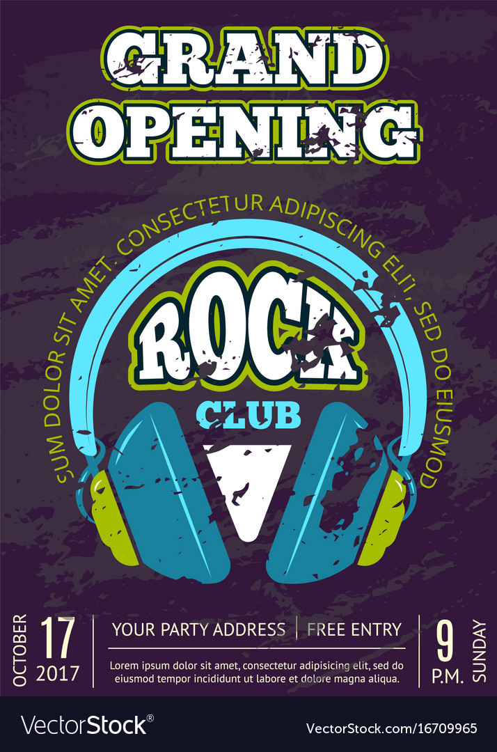 Rock music club music shop with headphones