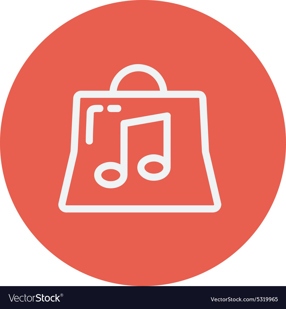 Shopping bag with musical note thin line icon