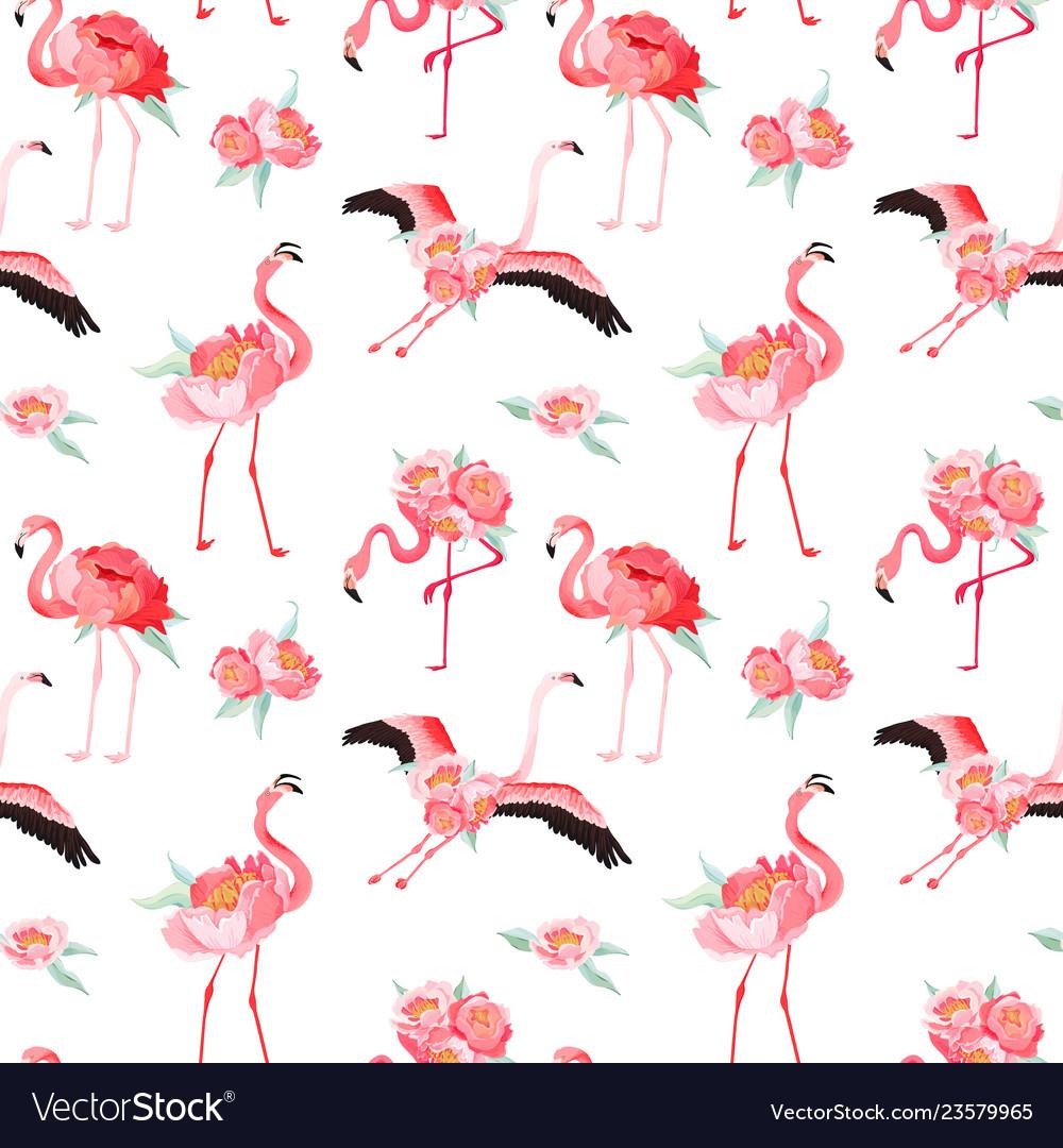 Tropical flamingo seamless summer pattern flowers
