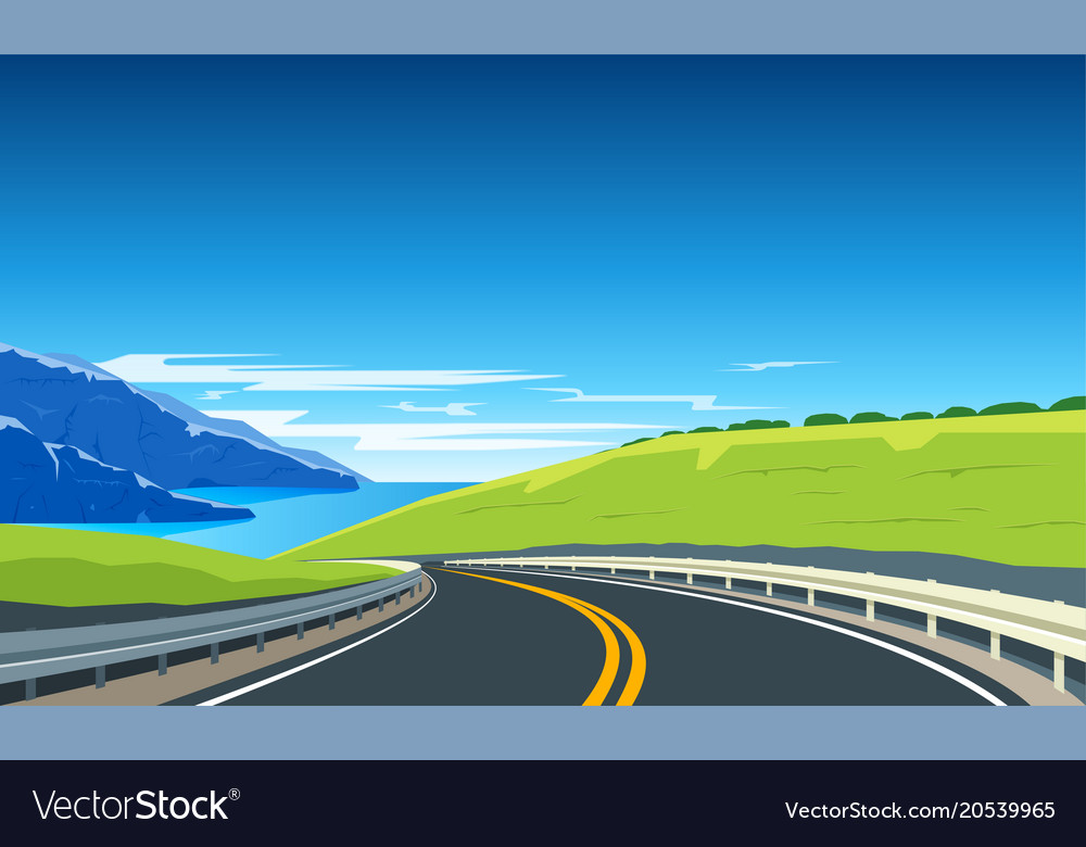 Turning highway banner vector image