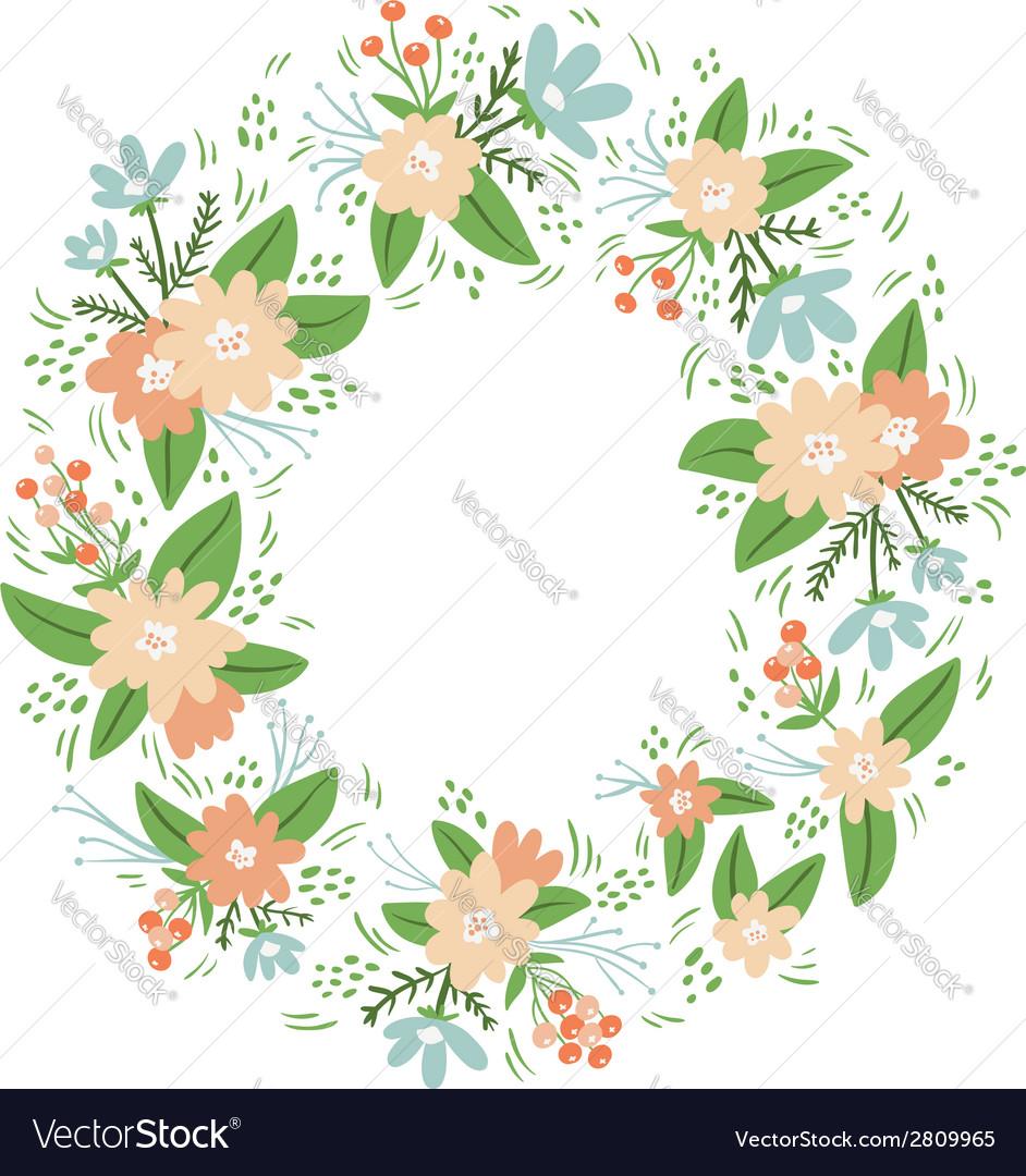 Vintage floral wreath frame