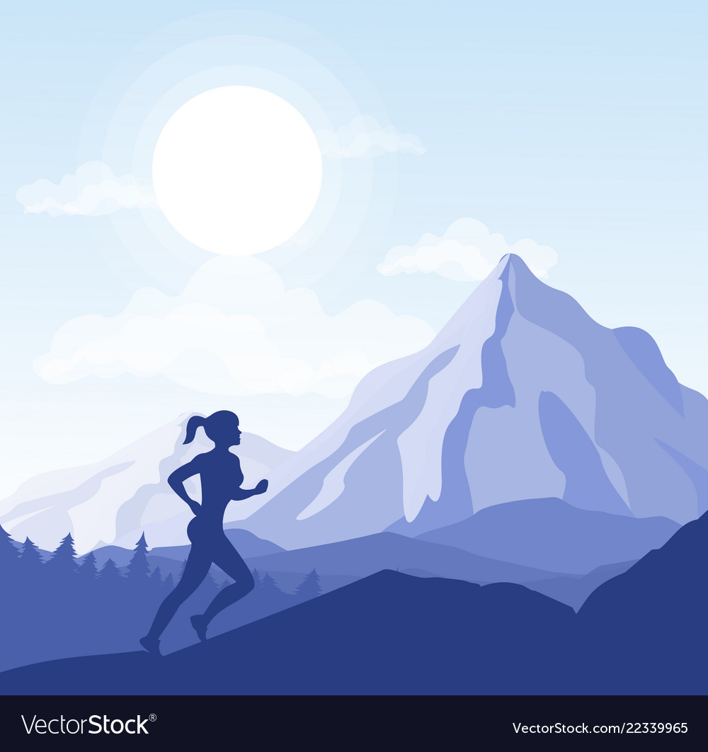 Young woman running in the