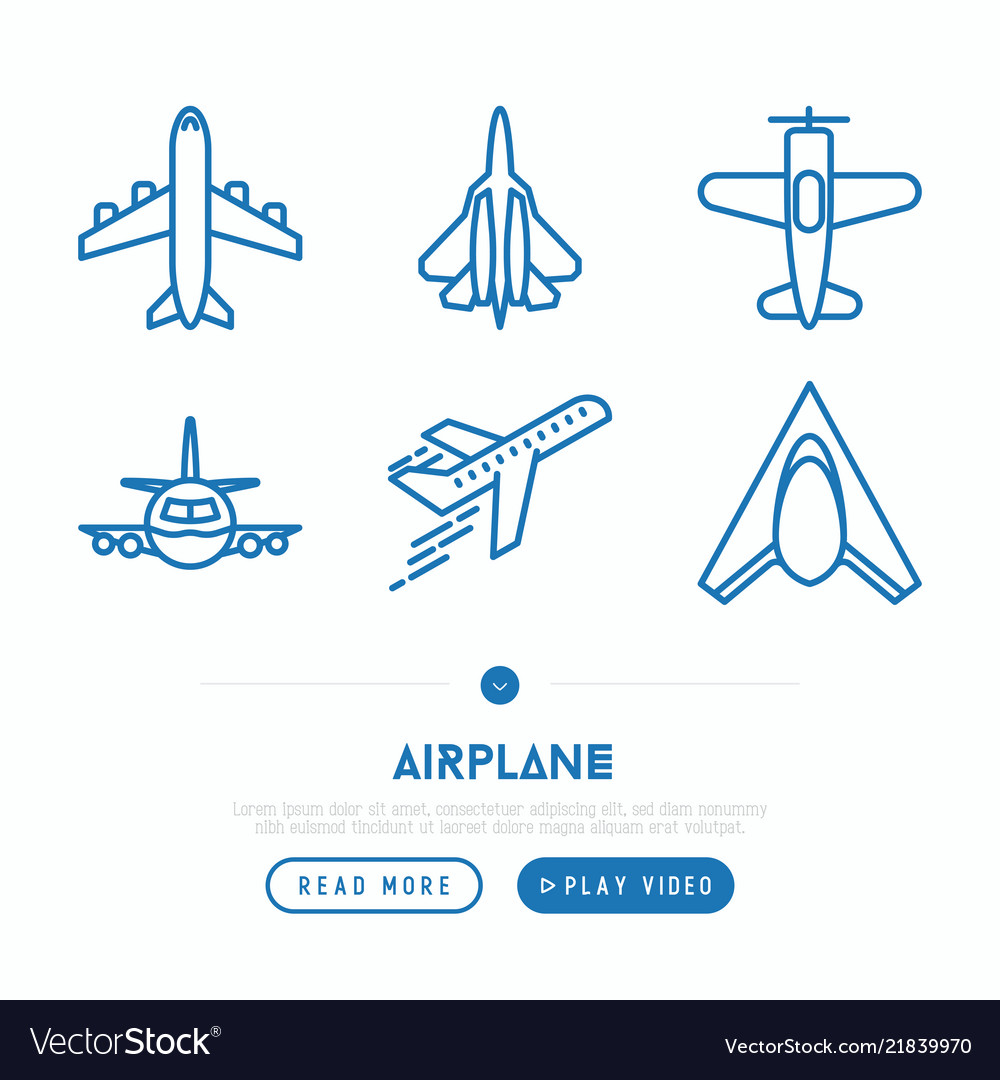 Airplane thin line icons set