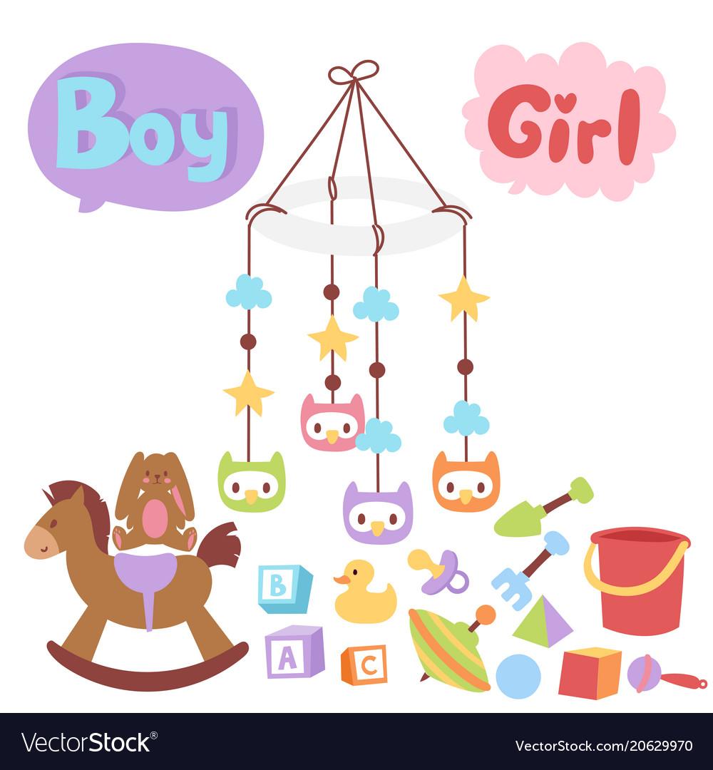 Baby toys icons cartoon family kid toyshop design