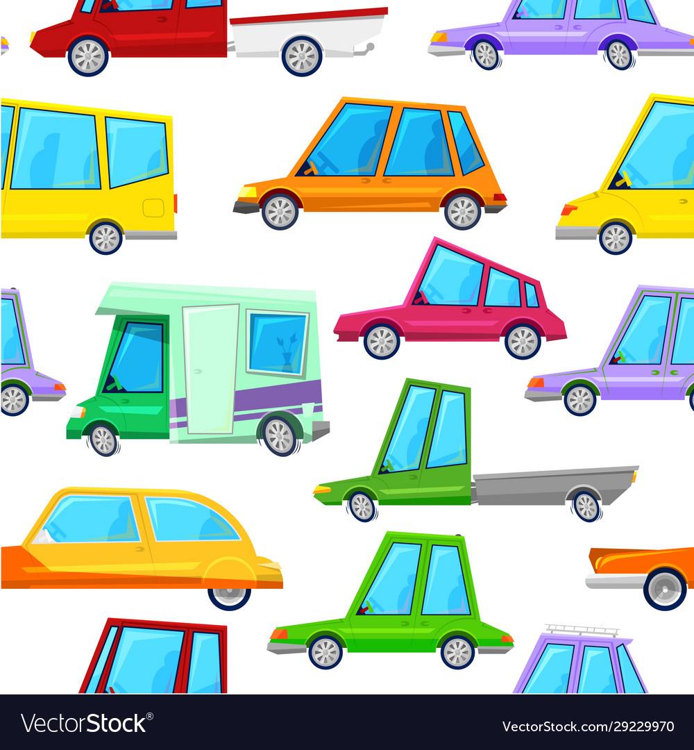Cartoon cars children seamless pattern