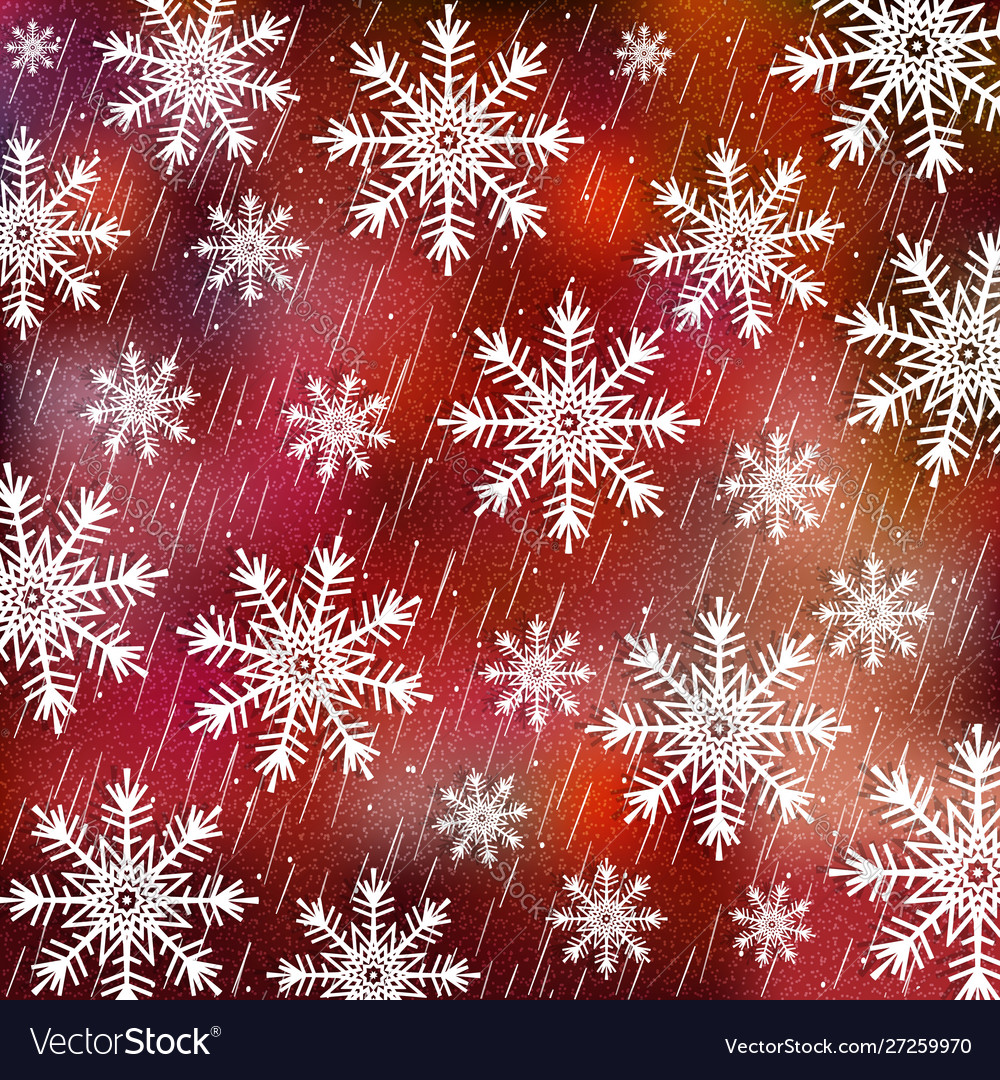 Christmas background white snowflakes on red