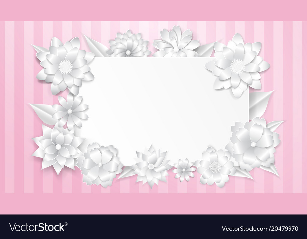 Greeting card template with paper flowers