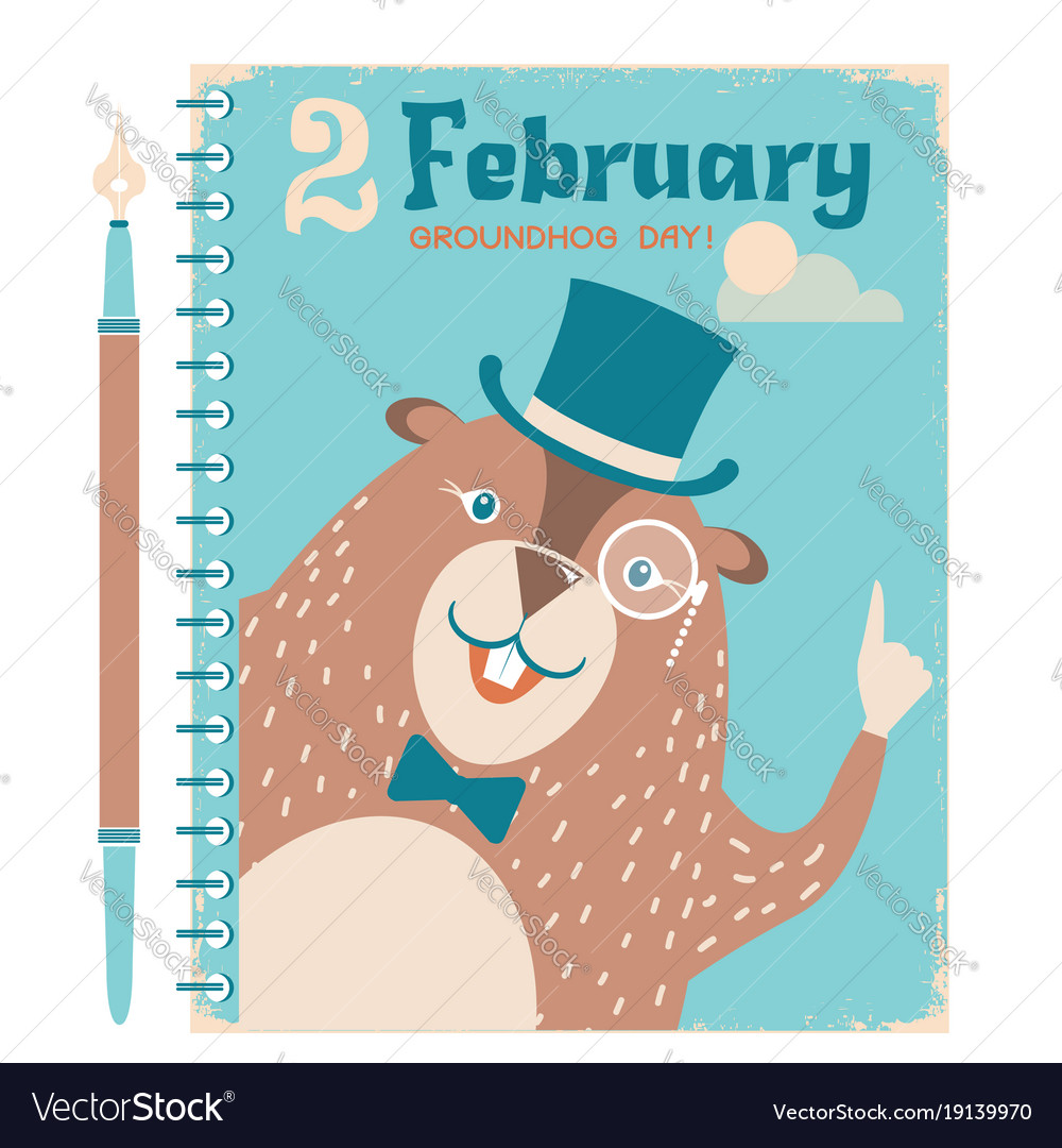 Happy groundhog background with marmot on vintage