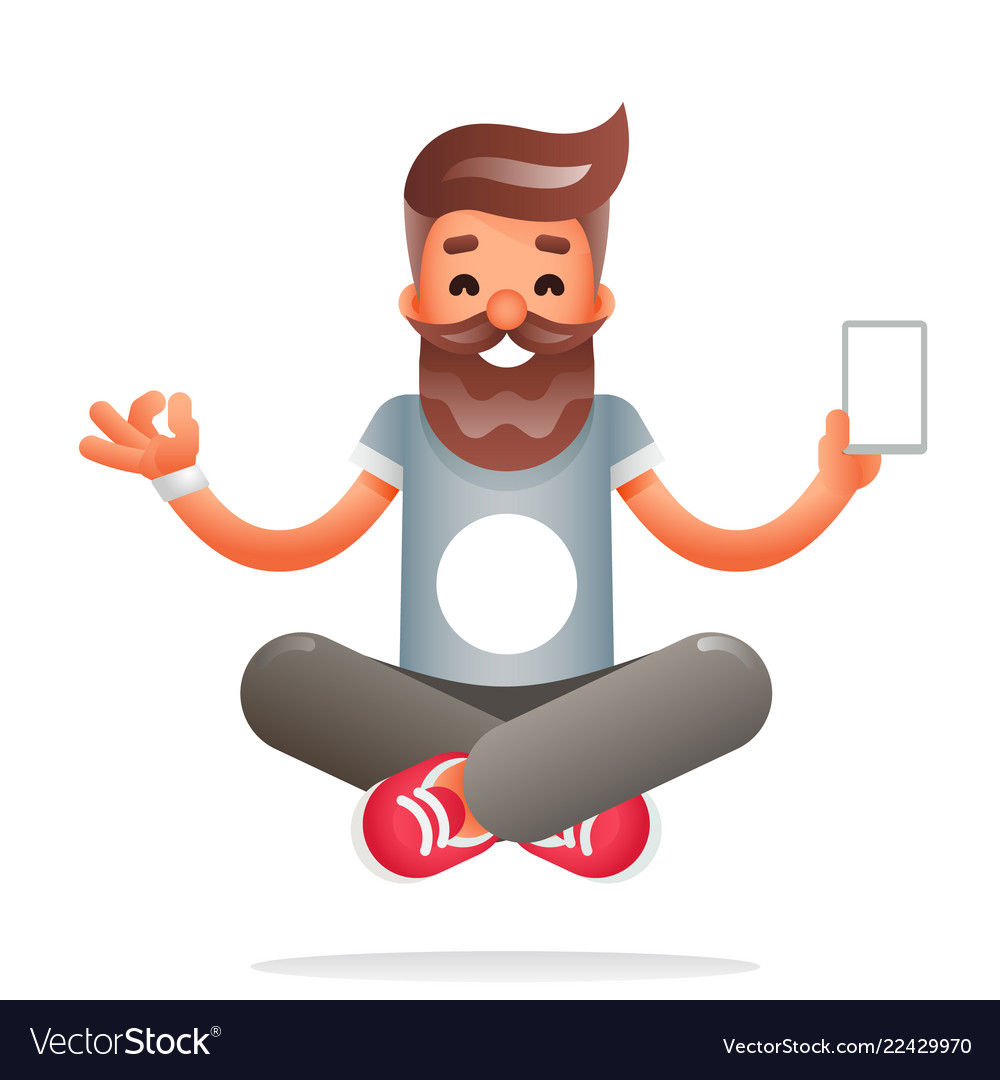 Hipster geek meditate new smartphone mobile apps