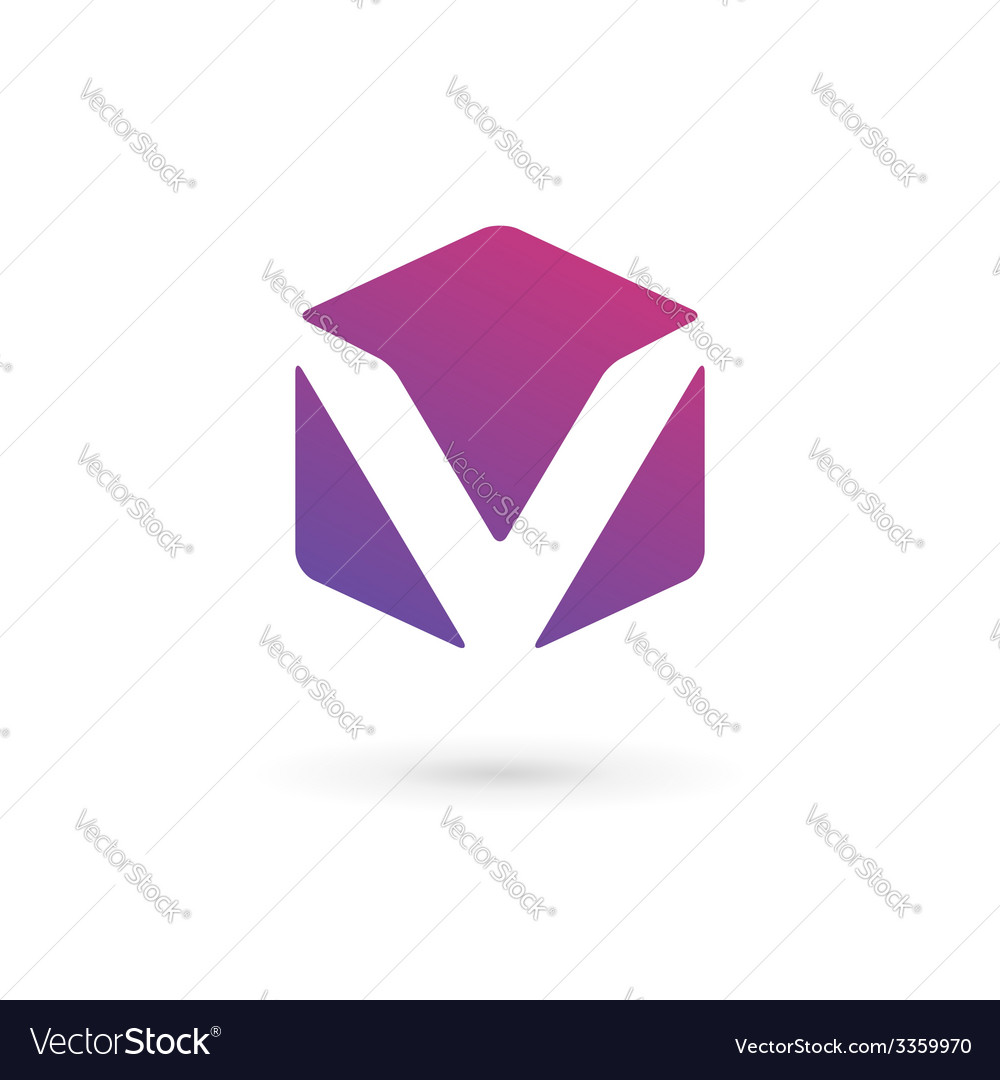 Letter V cube logo icon design template elements vector image