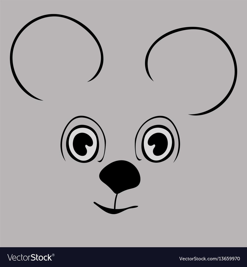 Mouse cute funny cartoon head vector image