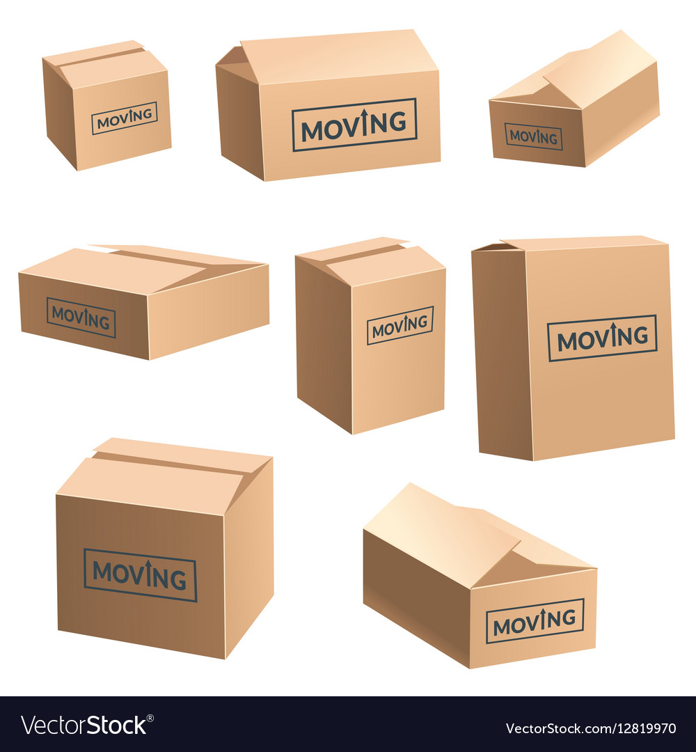Moving Cardboard Box On White Background Set
