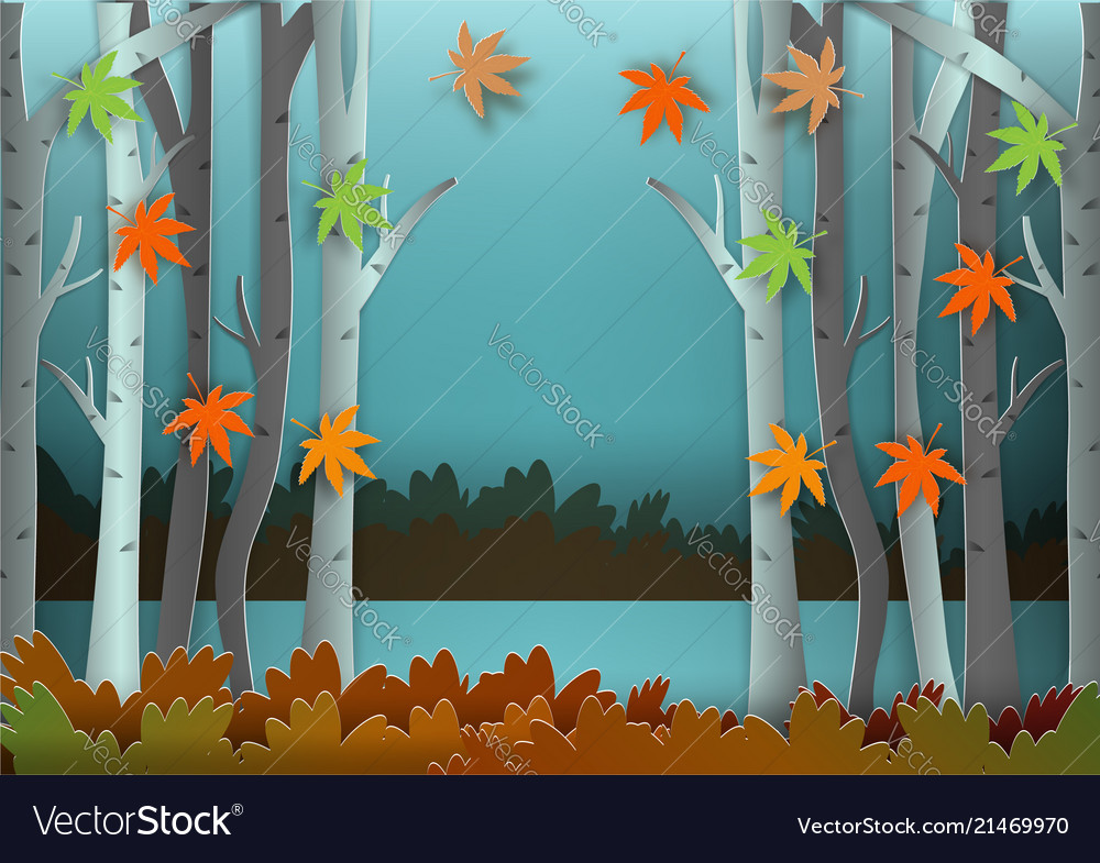Paper art style of forest for autumn concept
