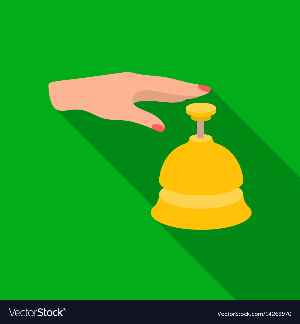 Reception bell icon in flat style isolated on