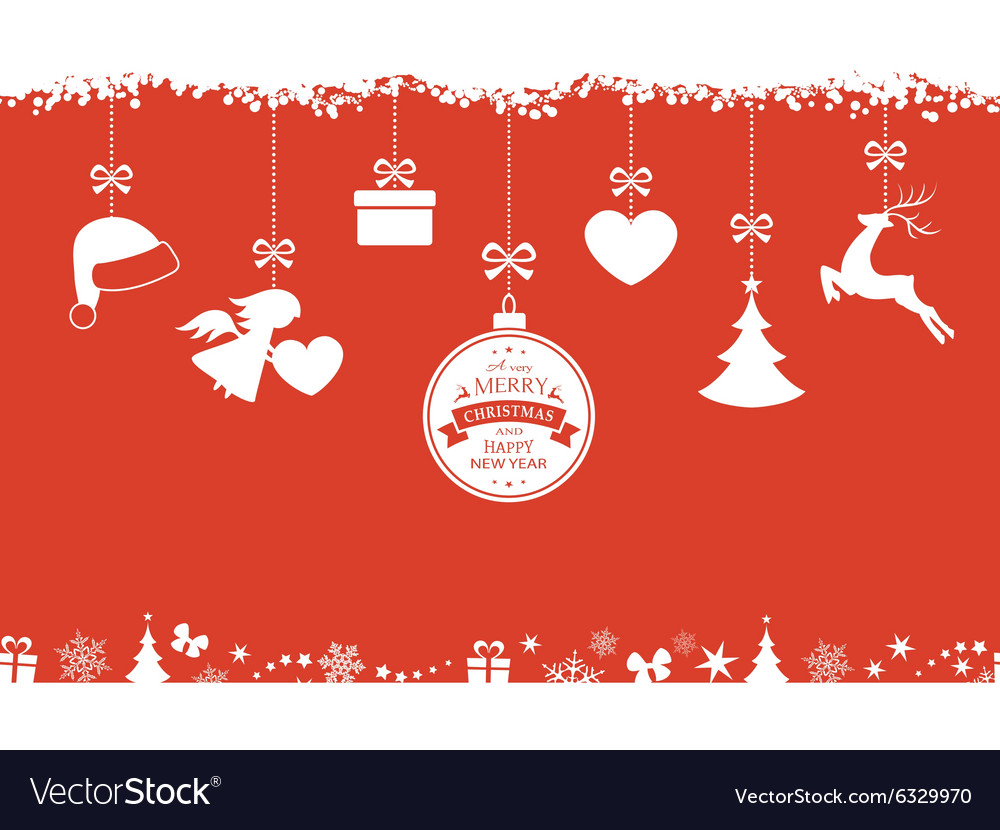 Red Christmas background with hanging