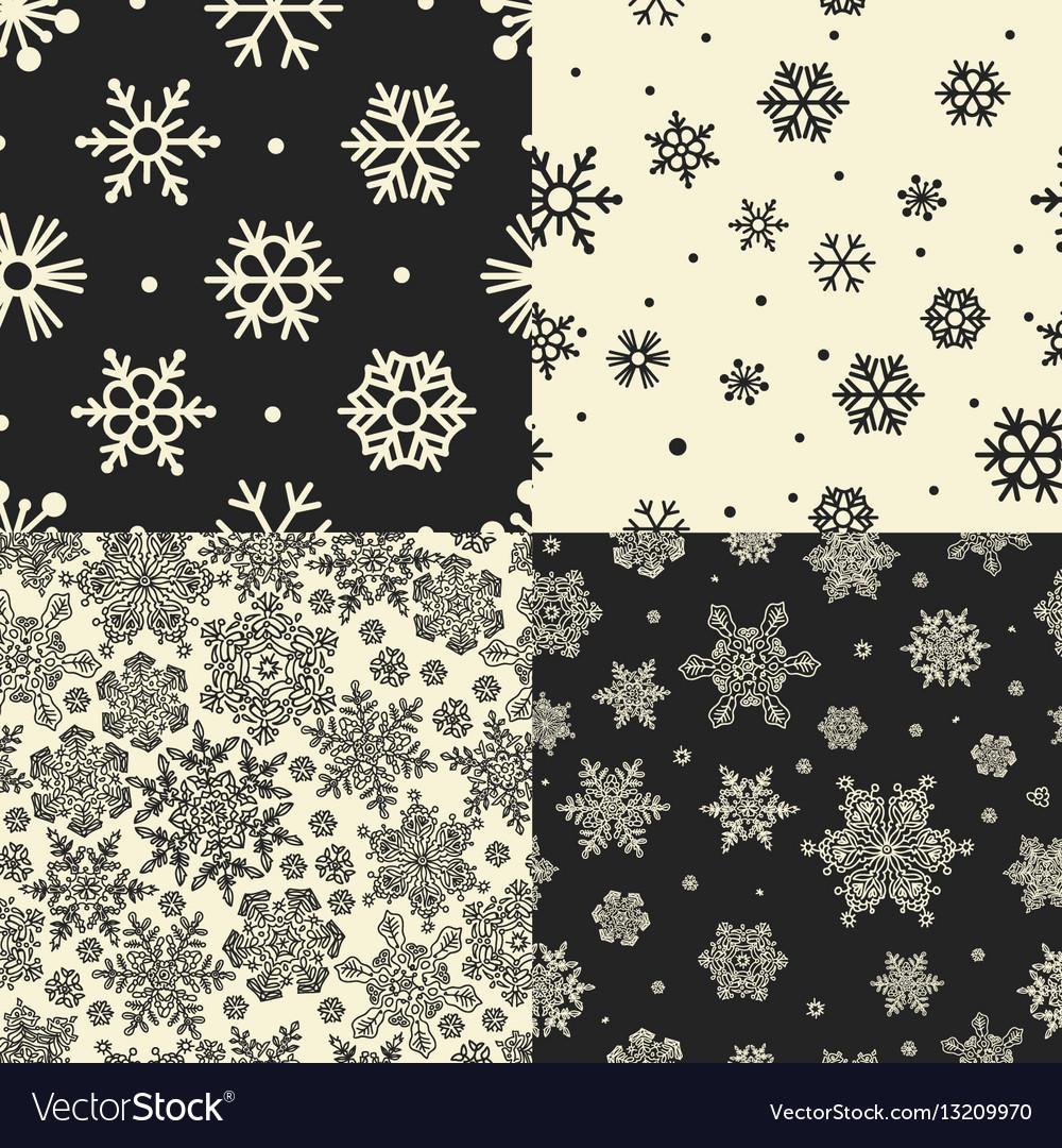 Seamless Snowflakes Patterns set