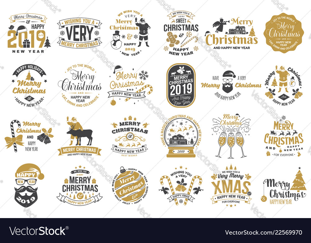 Set of merry christmas and happy new year stamp