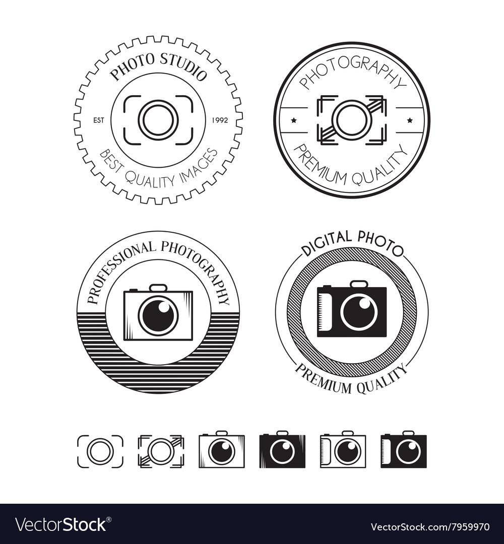 Set of photo logos labels