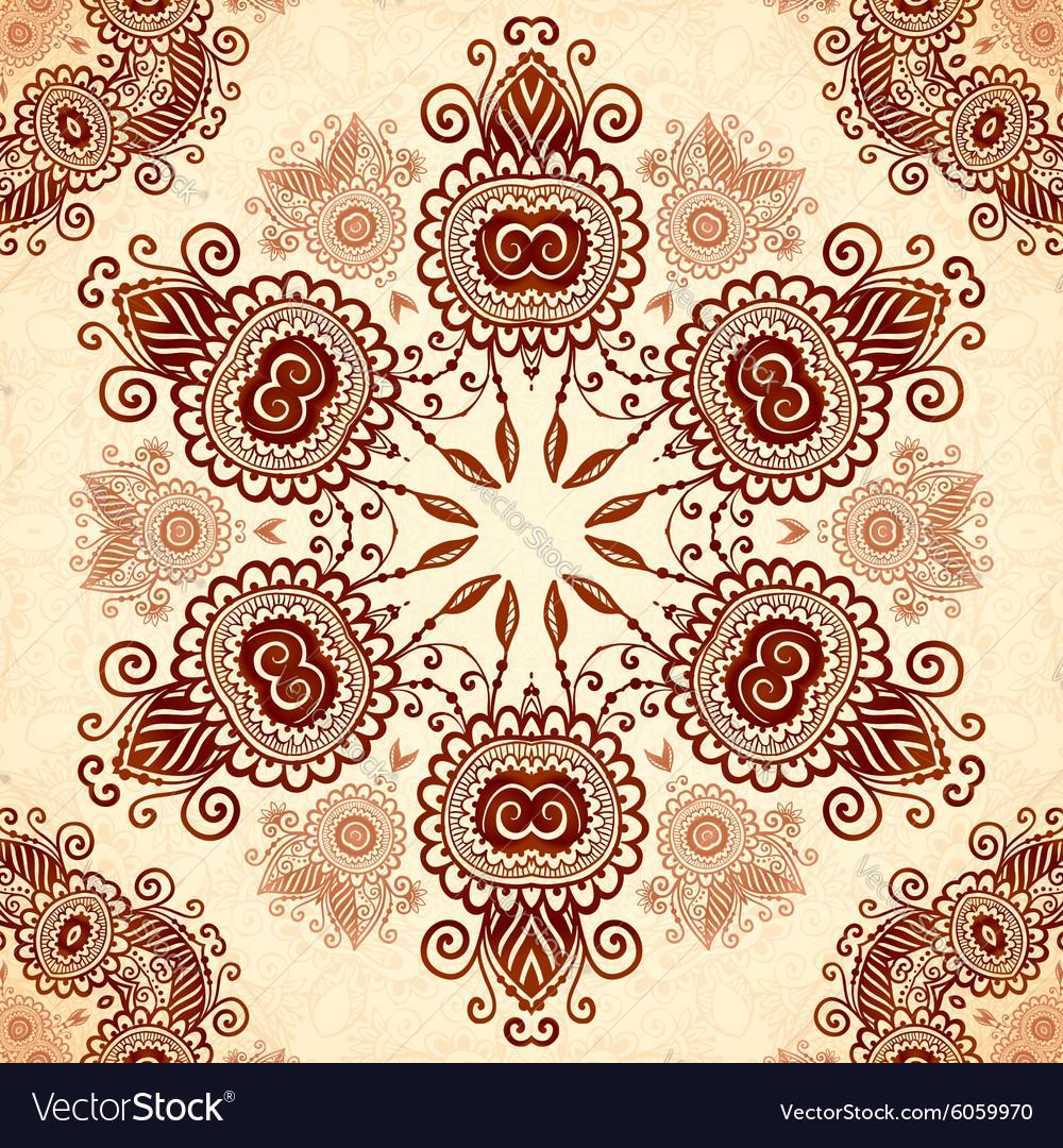 Vintage round seamless pattern in Indian mehndi