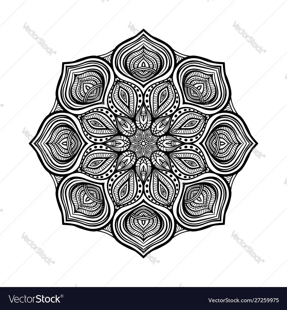 Black floral circular pattern on white background