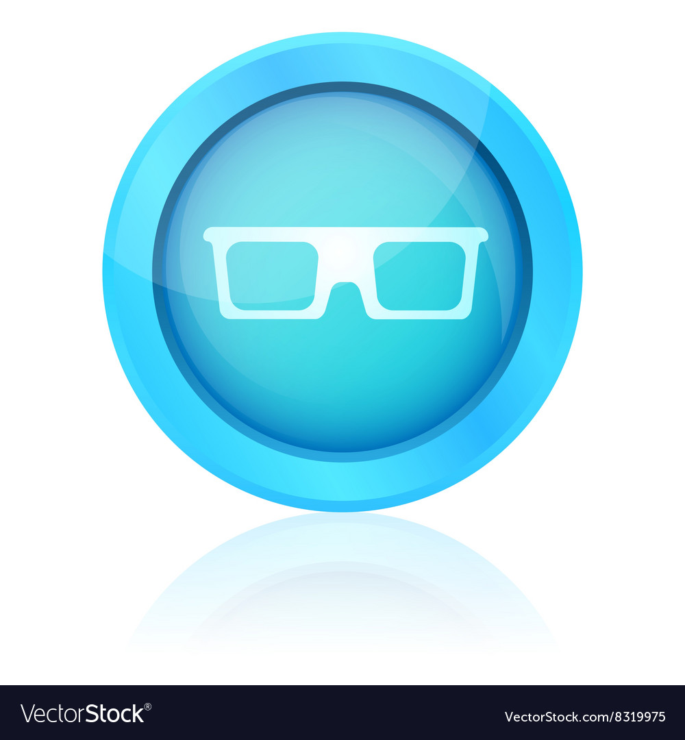 Blue shiny glasses icon with reflection