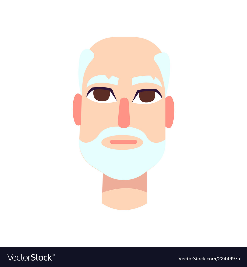 Elderly man with big red eyes gray hair and