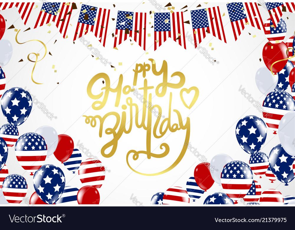 Happy birthday america lettering hand drawn