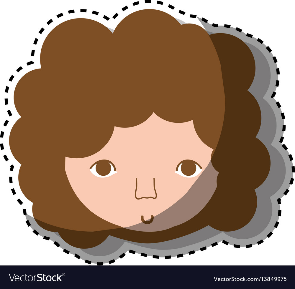 Man Face With Curly Hair Icon Royalty Free Vector Image