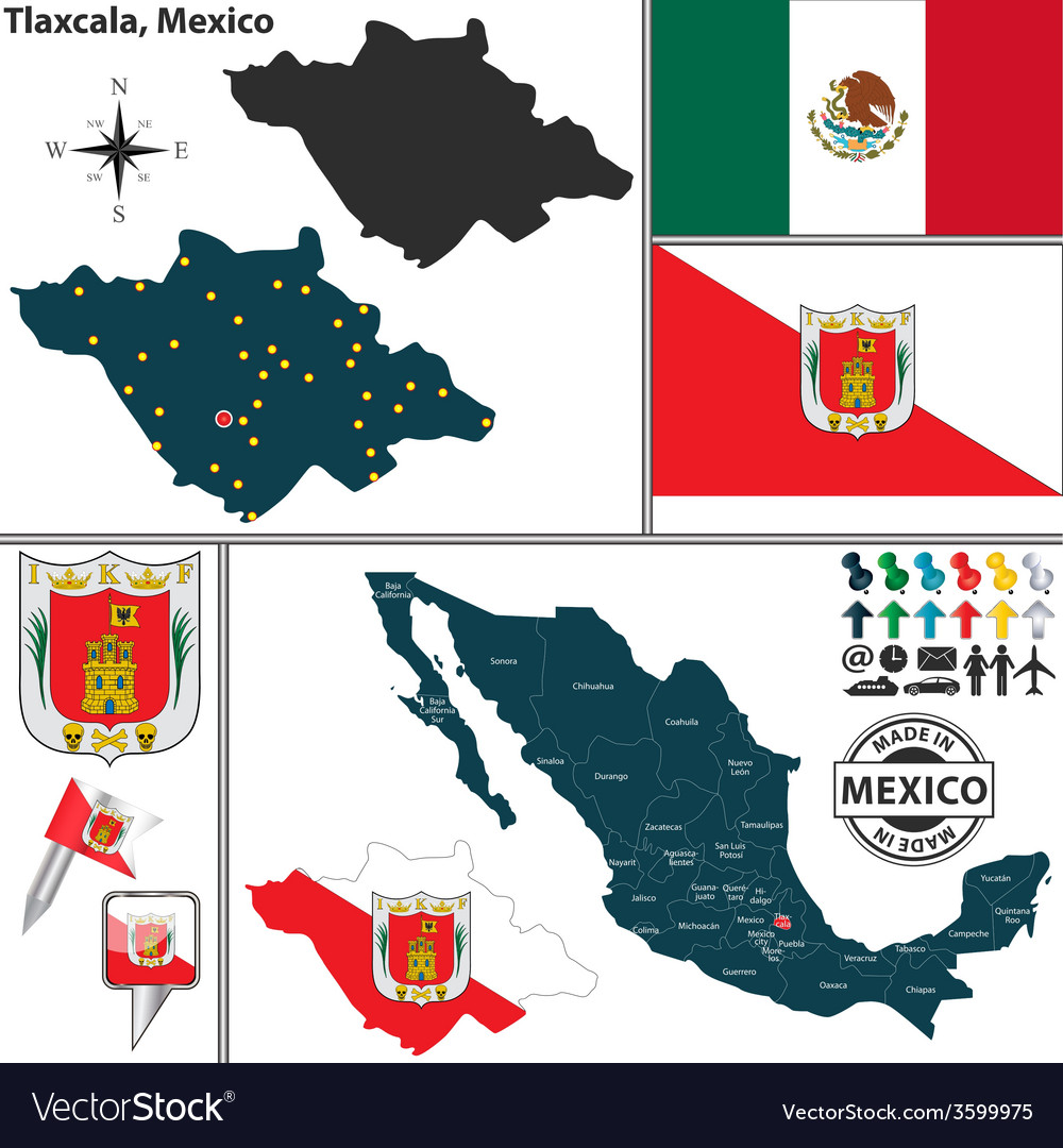 Map of Tlaxcala vector image