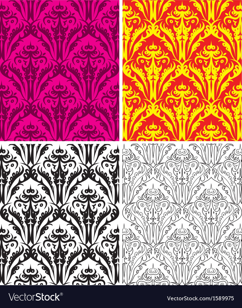 Set of seamless vintage backgrounds vector image