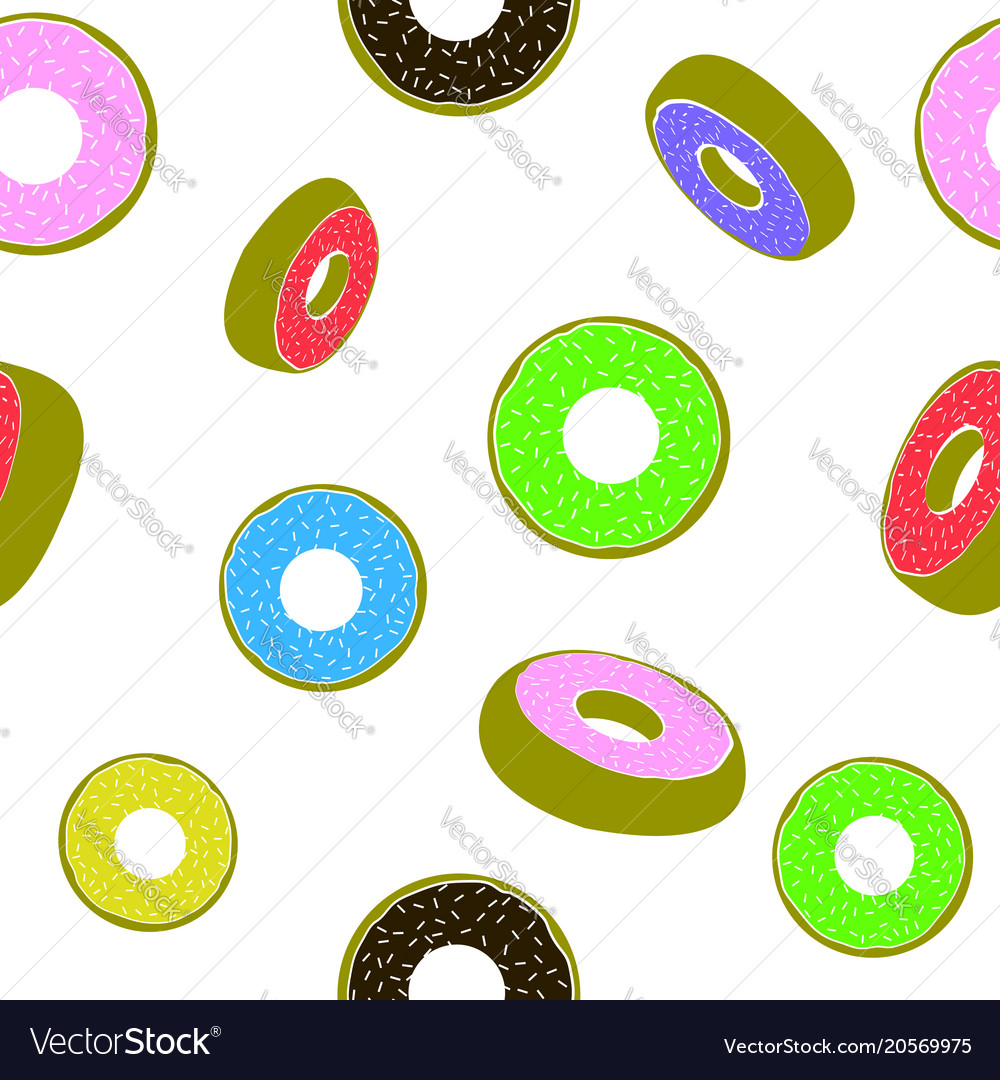 Sweet glazed colorful donut seamless pattern fast