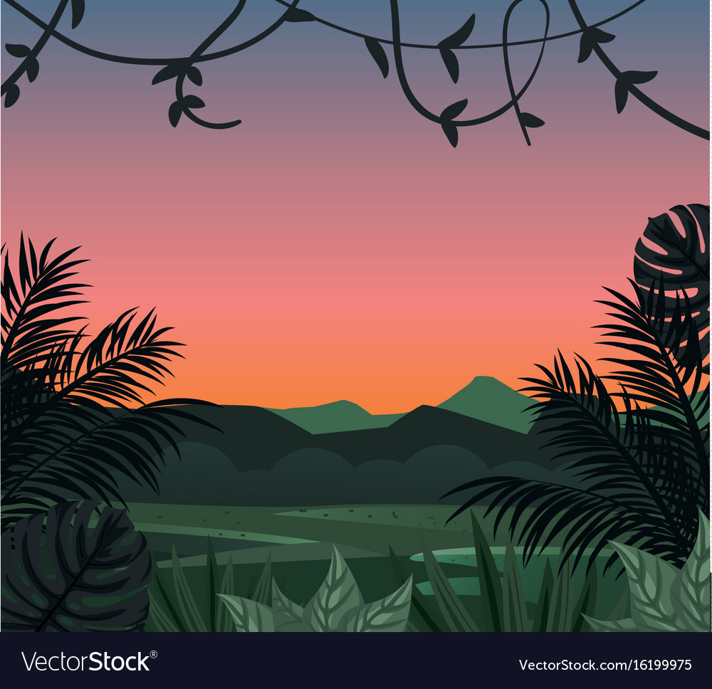 Tropical Landscape With Tropical Leaves Royalty Free Vector Download the perfect tropical leaves pictures. vectorstock