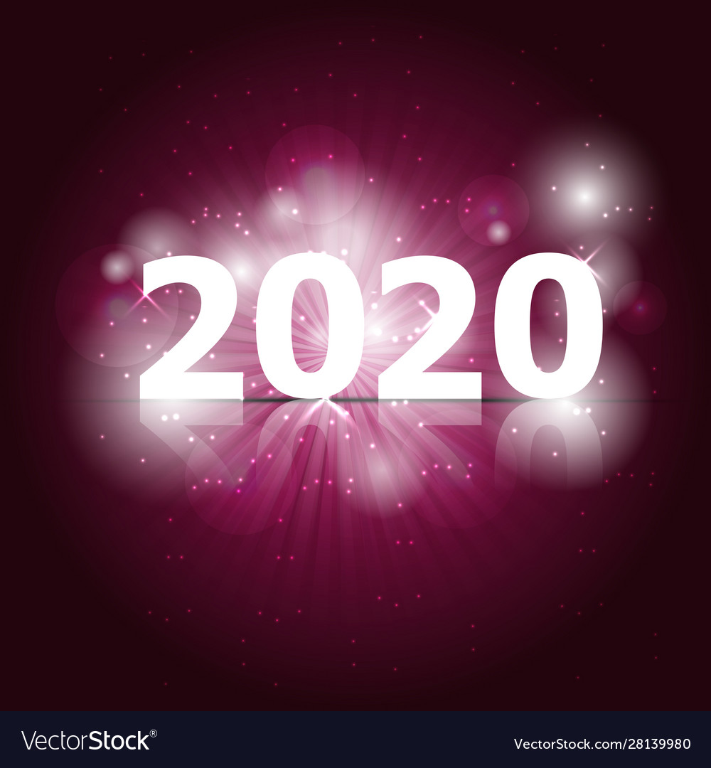 2020 happy new year on pink background