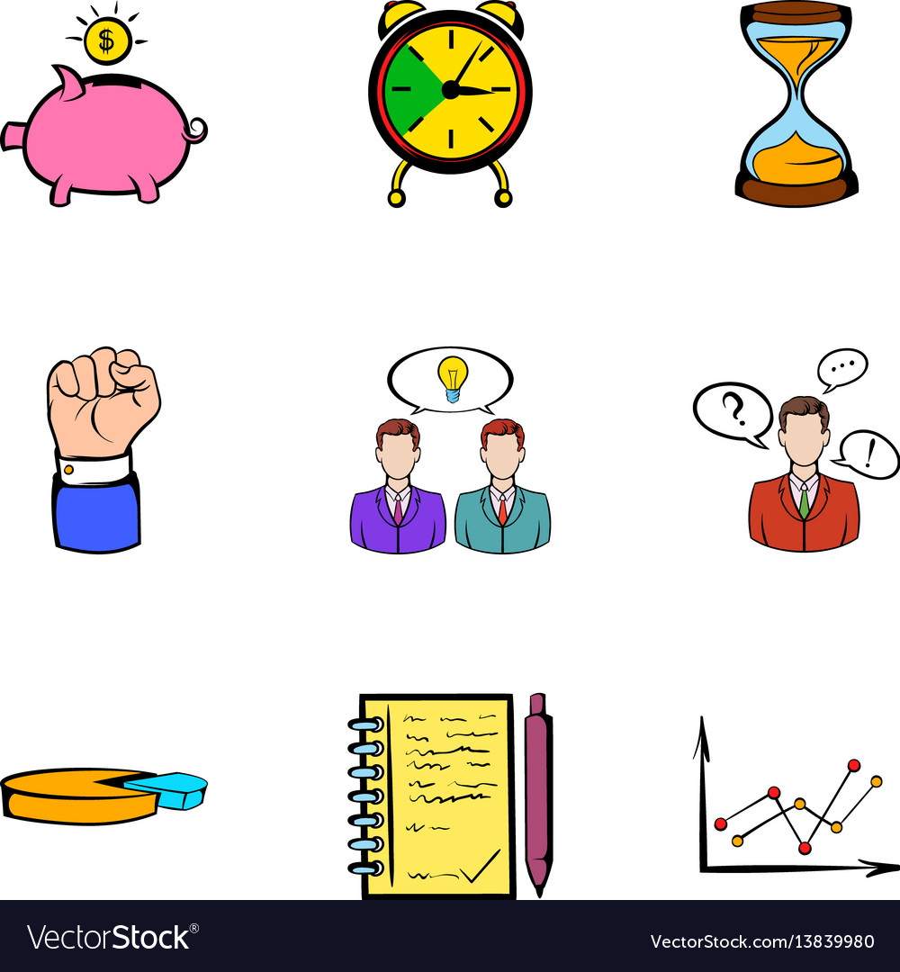 Banking icons set cartoon style
