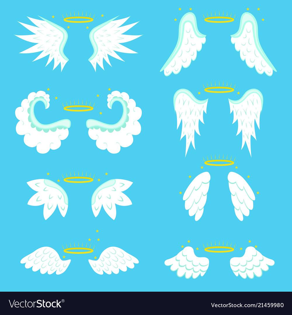 Cartoon angel wings set