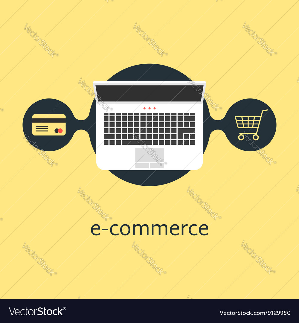 Ecommerce with credit card laptop and shopping