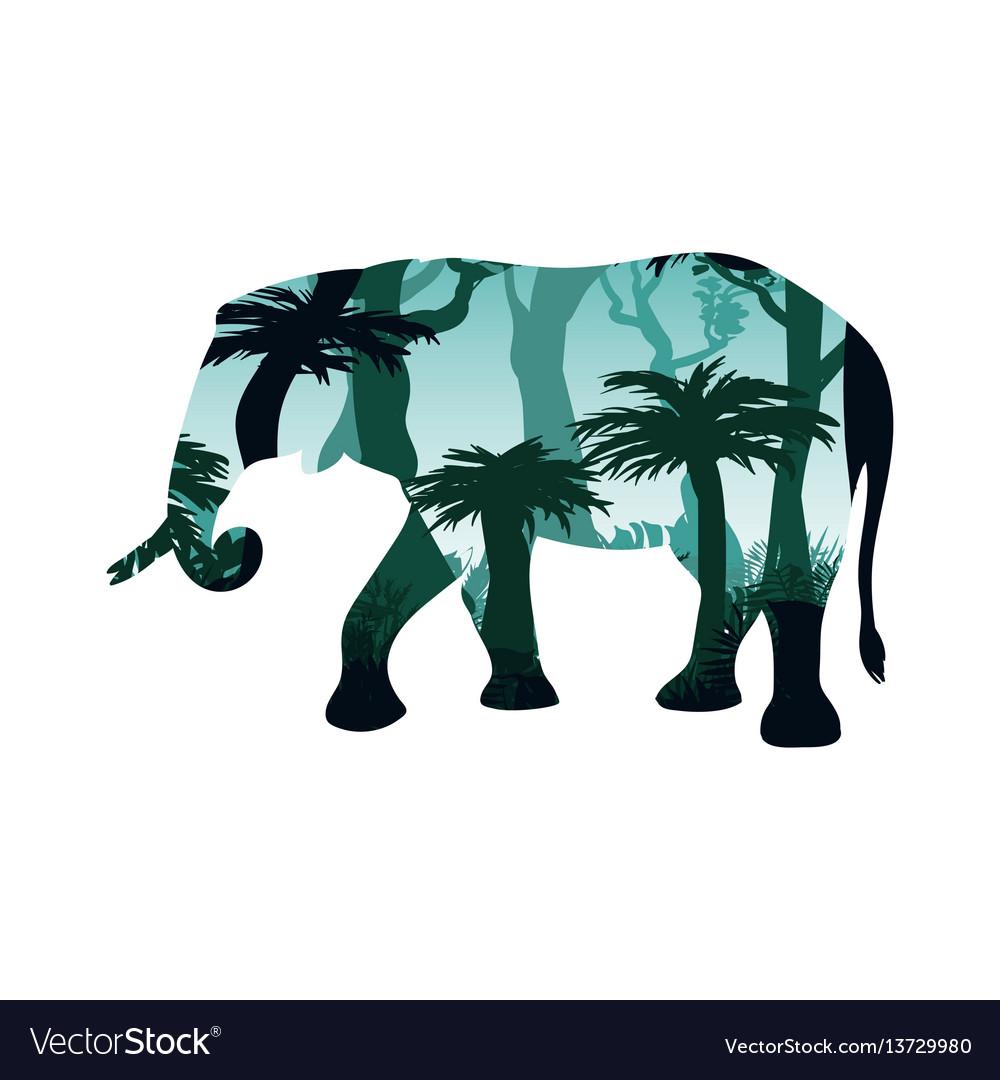 Elephant silhouette concept vector image