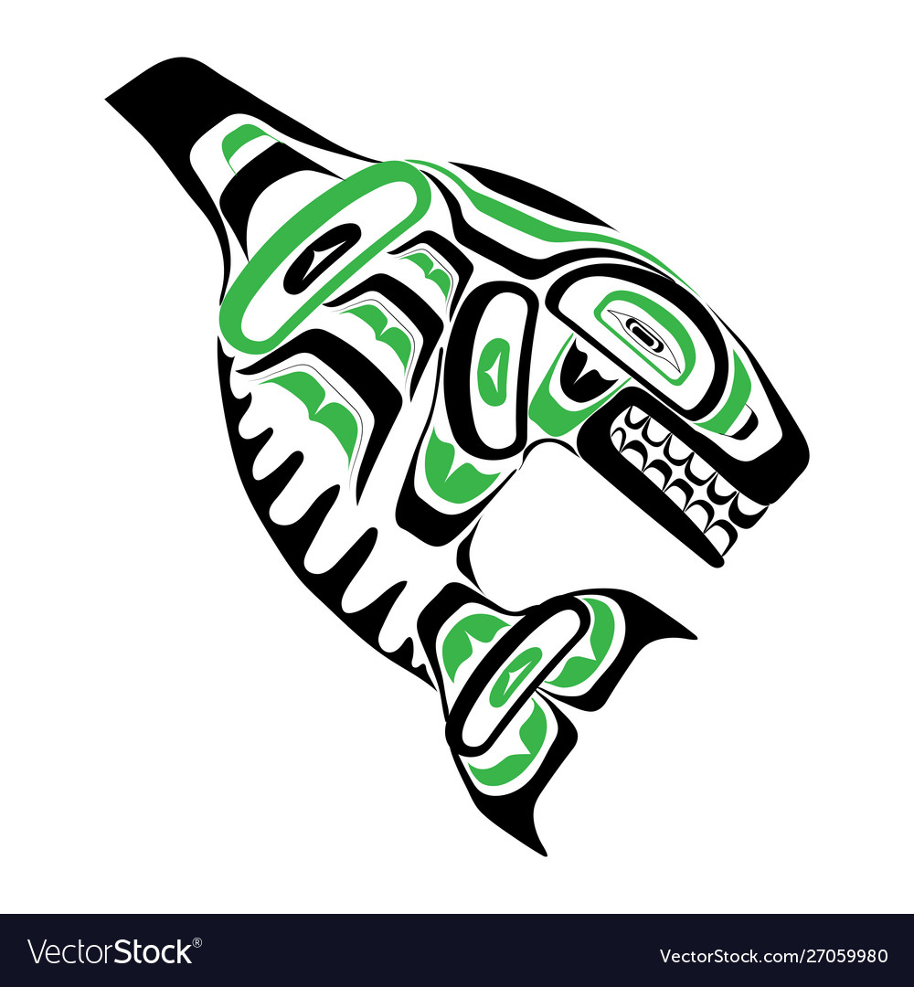 Haida killer whale tattoo ornament in haida style
