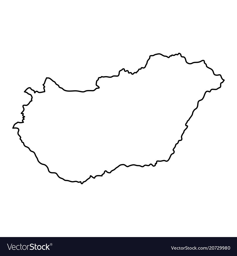 Hungary map of black contour curves of