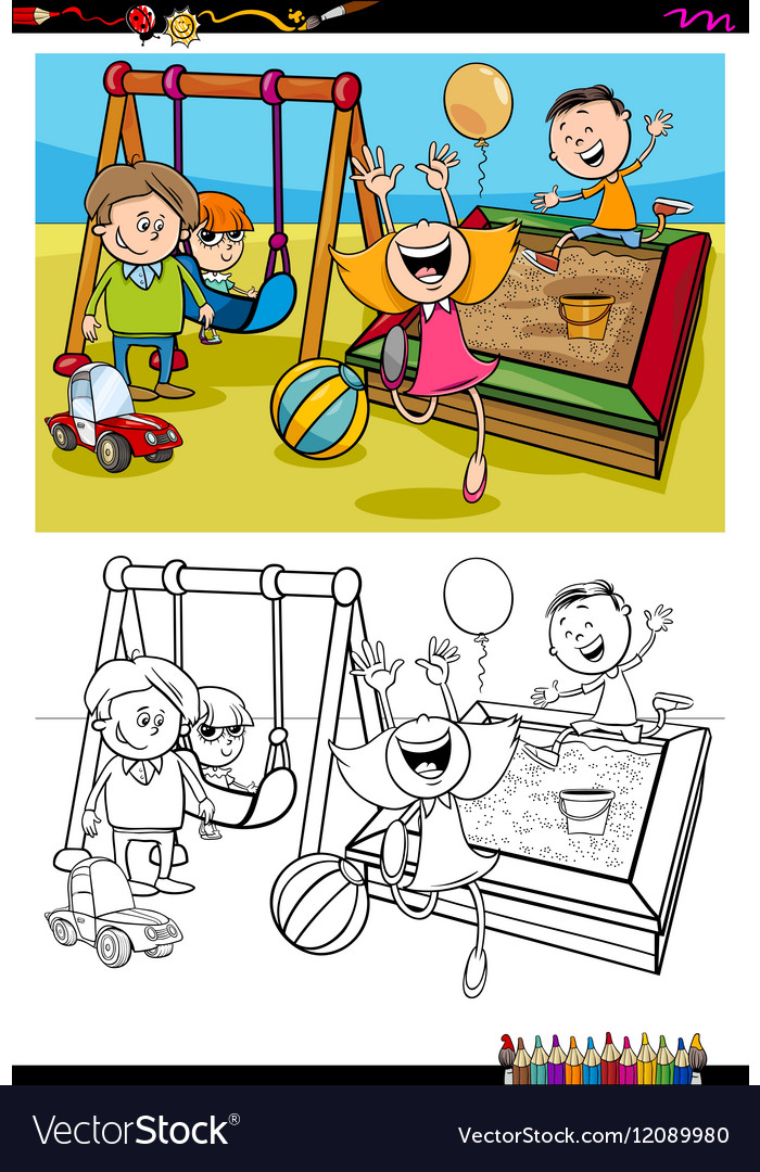 Kids on playground coloring book