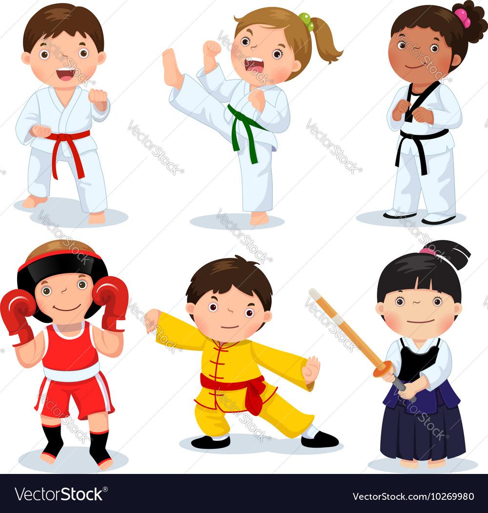 Martial arts kids Children fighting judo taekwondo