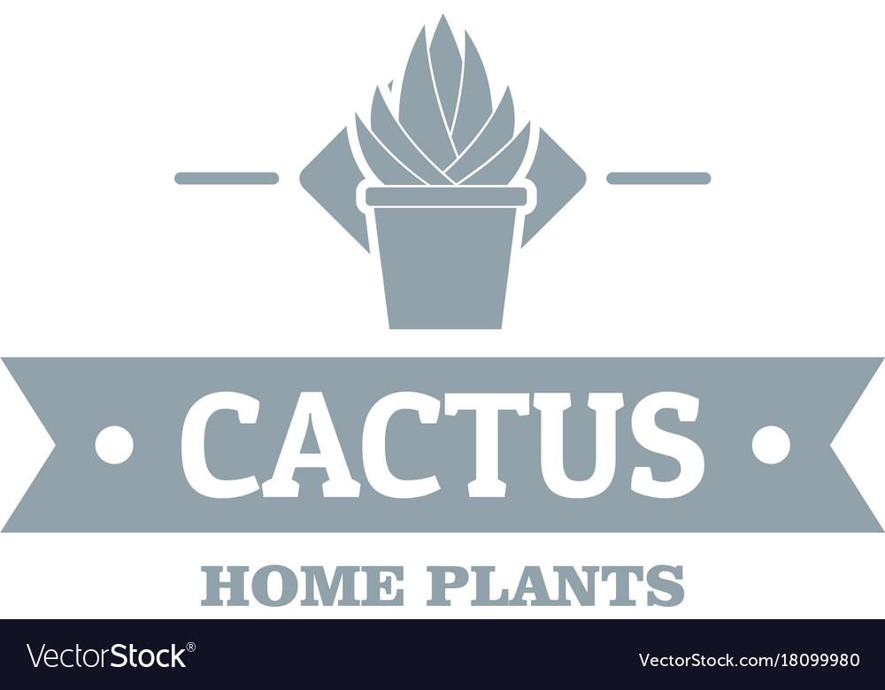 Pot cactus logo simple gray style vector image