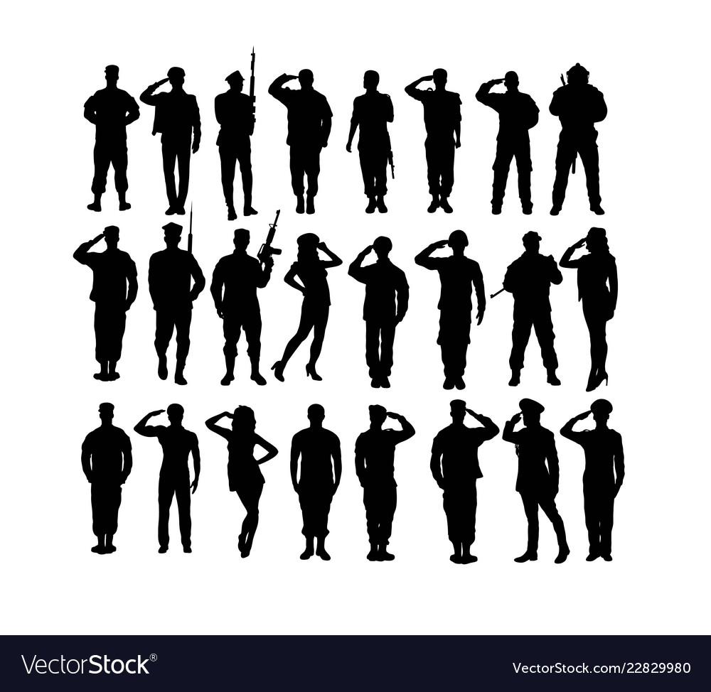 Saluting army and soldier silhouettes