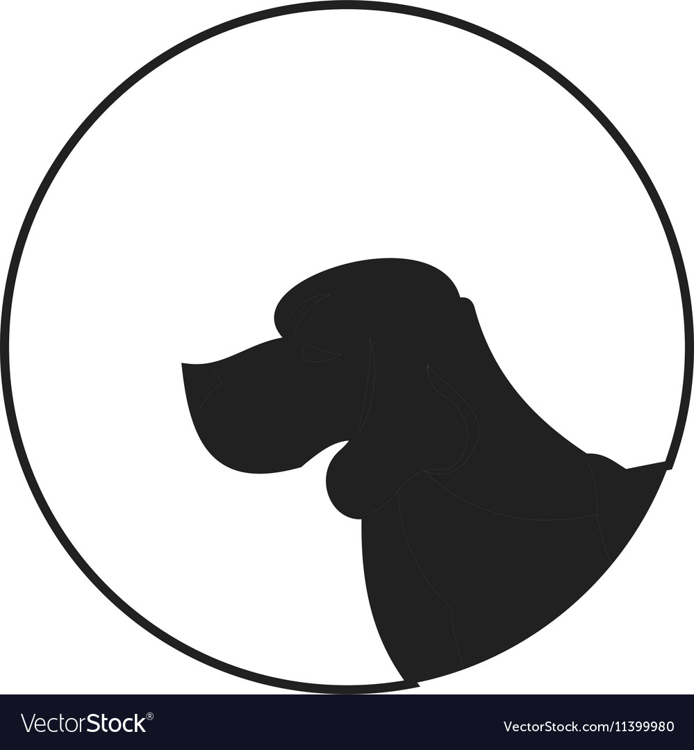 Silhouette of a dog head beagle vector image