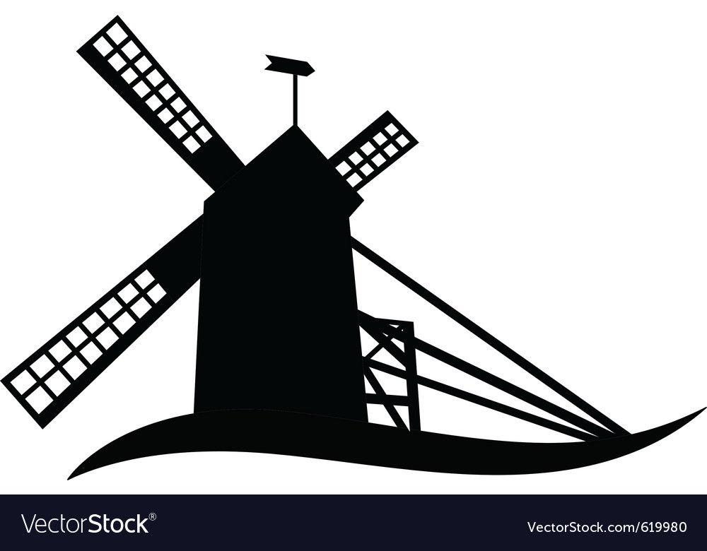 silhouette of windmill royalty free vector image rh vectorstock com windmill vector illustration windmill vector png