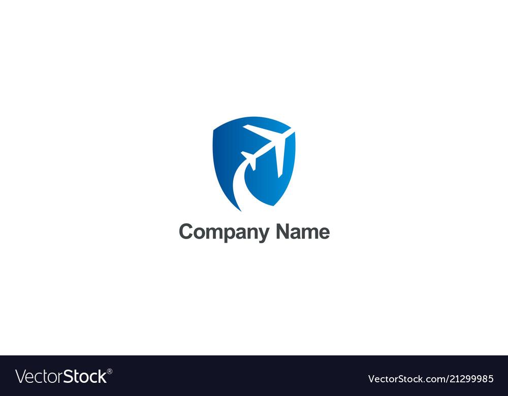 Airplane travel fly shield company logo
