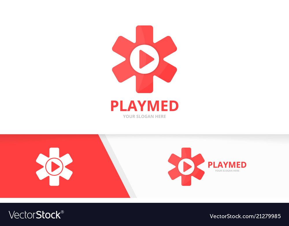 Ambulance and play button logo combination